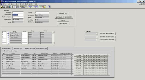 Screenshot Oracle supermarkt bestelsysteem.