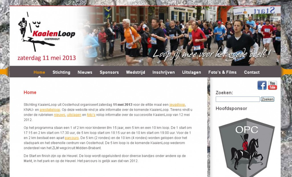 Screenshot website Stichting KaaienLoop met Facebook en Youtube iconen.
