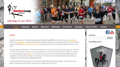 Screenshot kaaienloop.nl met Facebook / Youtube iconen.