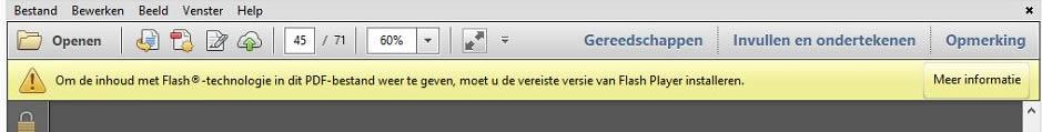 Adobe Reader opent geen Flash bestanden in PDF.