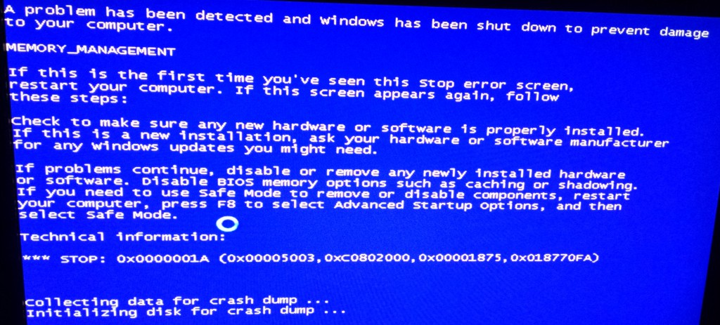 Screenshot bsod memory_management foutmelding.