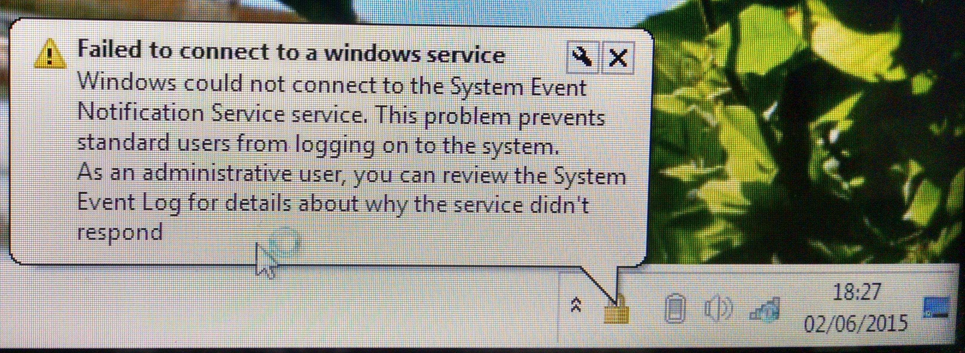 Kan Geen Verbinding Maken Met System Event Notification