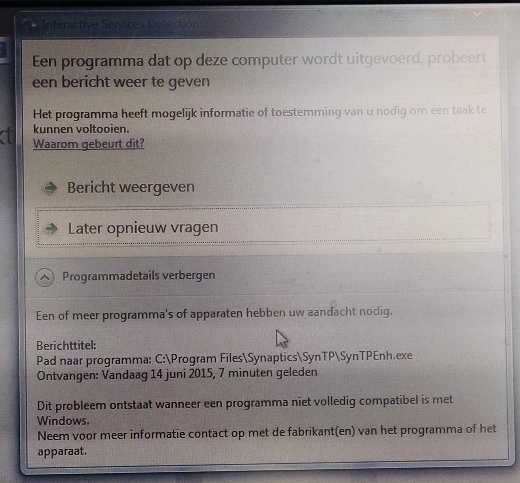 Interactive Service Detection scherm voor SynTPEnh.exe.