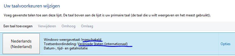Overzicht van talen in Windows 8 die gebruikt worden voor de spellingscontrole van Word.