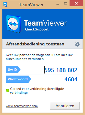 Screenshot van TeamViewer.