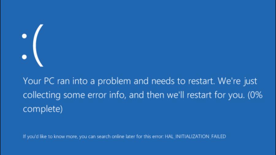 Windows 10 blue screen of death.