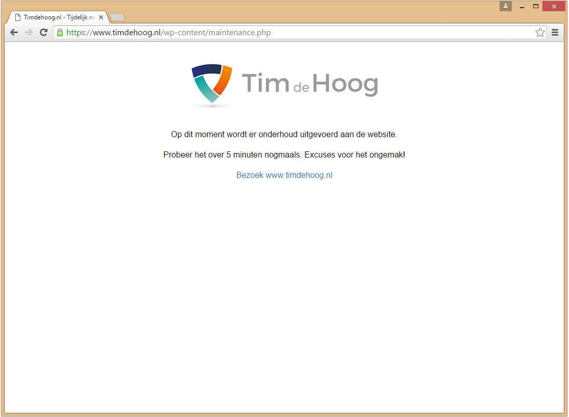 Onderhoudspagina van Timdehoog.nl.
