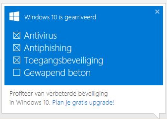 Windows 10 upgrade herinnering.