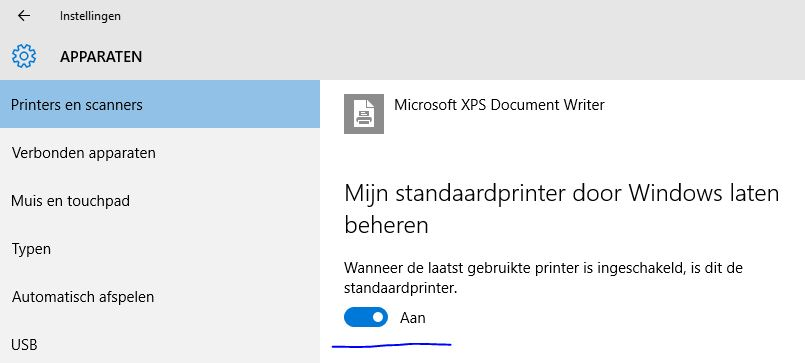 Windows 10 bepaald standaard de standaardprinter.