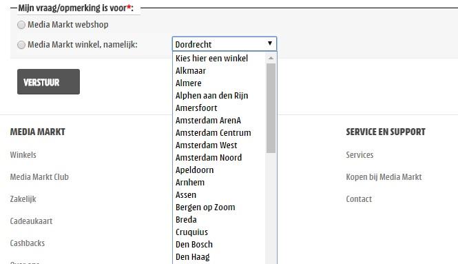 Voorbeeld van selectlijst op www.mediamarkt.nl.