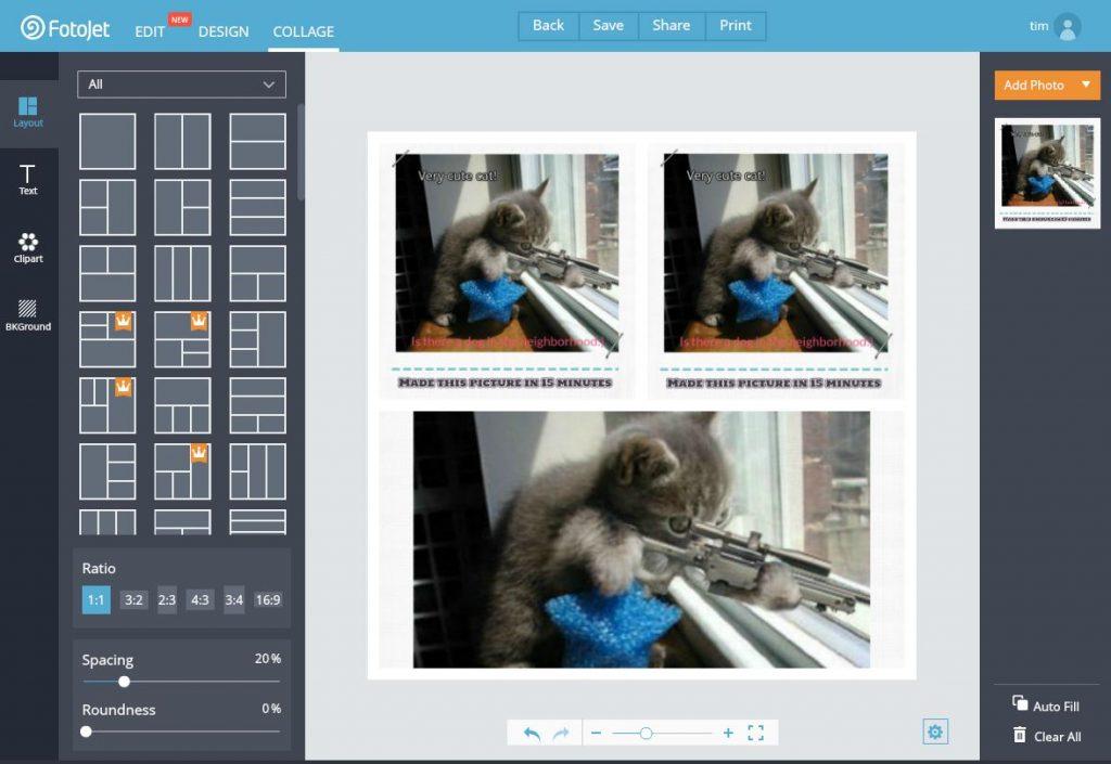 Collages maken met Fotojet.com.