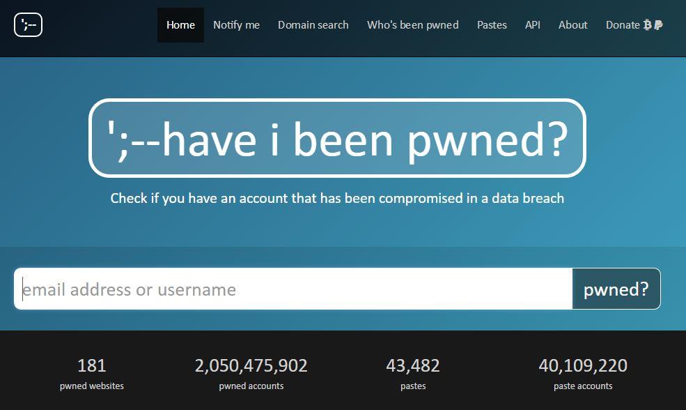 Controleren of je accounts gestolen zijn op haveibeenpwned.com.