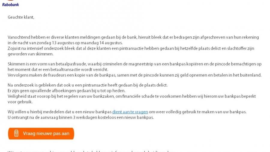 Rabobank phising e-mail.