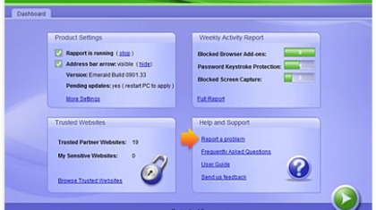 Screenshot van Trusteer software.