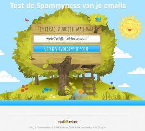 Screenshot van mail-tester.com.