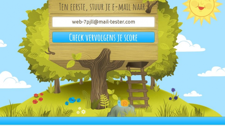 Screenshot van mail-tester.com.