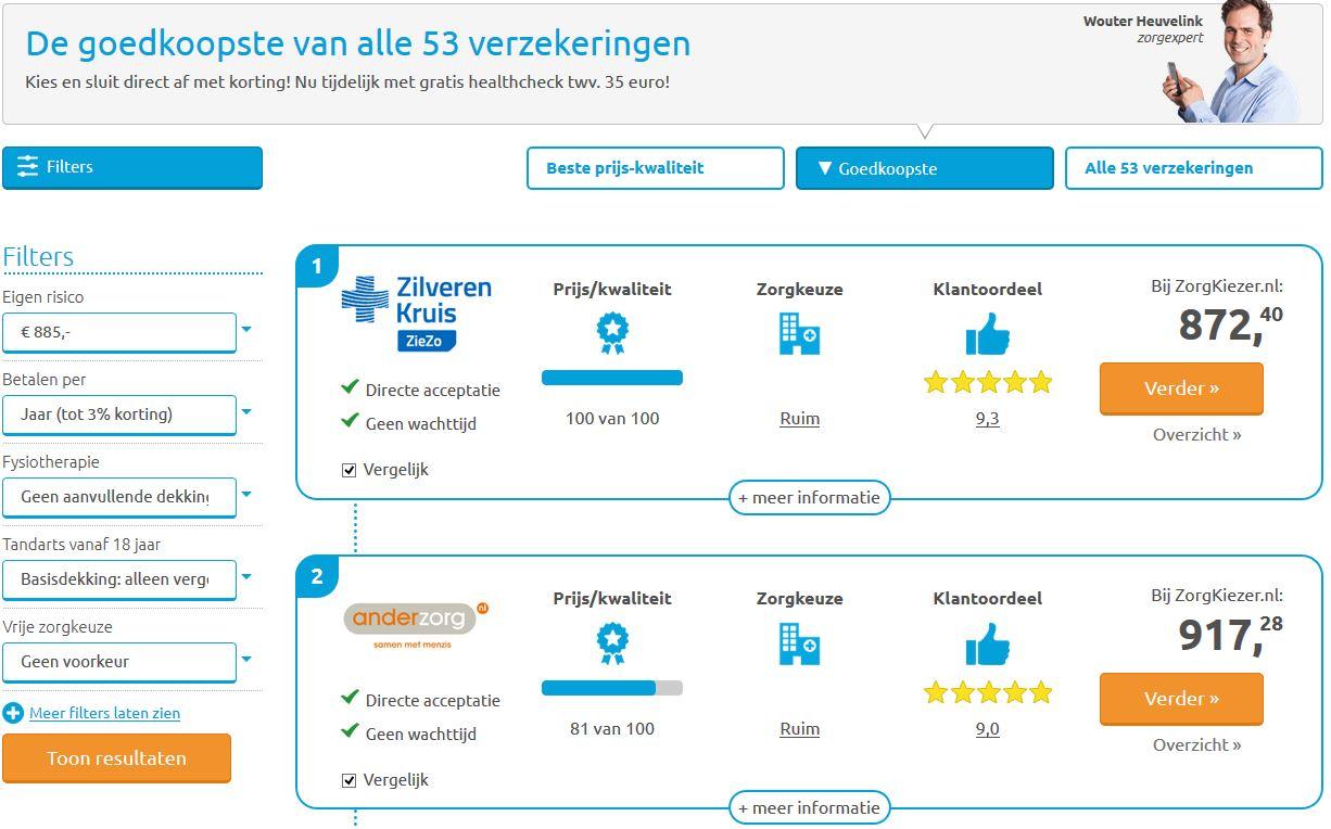 Screenshot van Zorgkiezer.nl met zorgverzekeringen overzicht.
