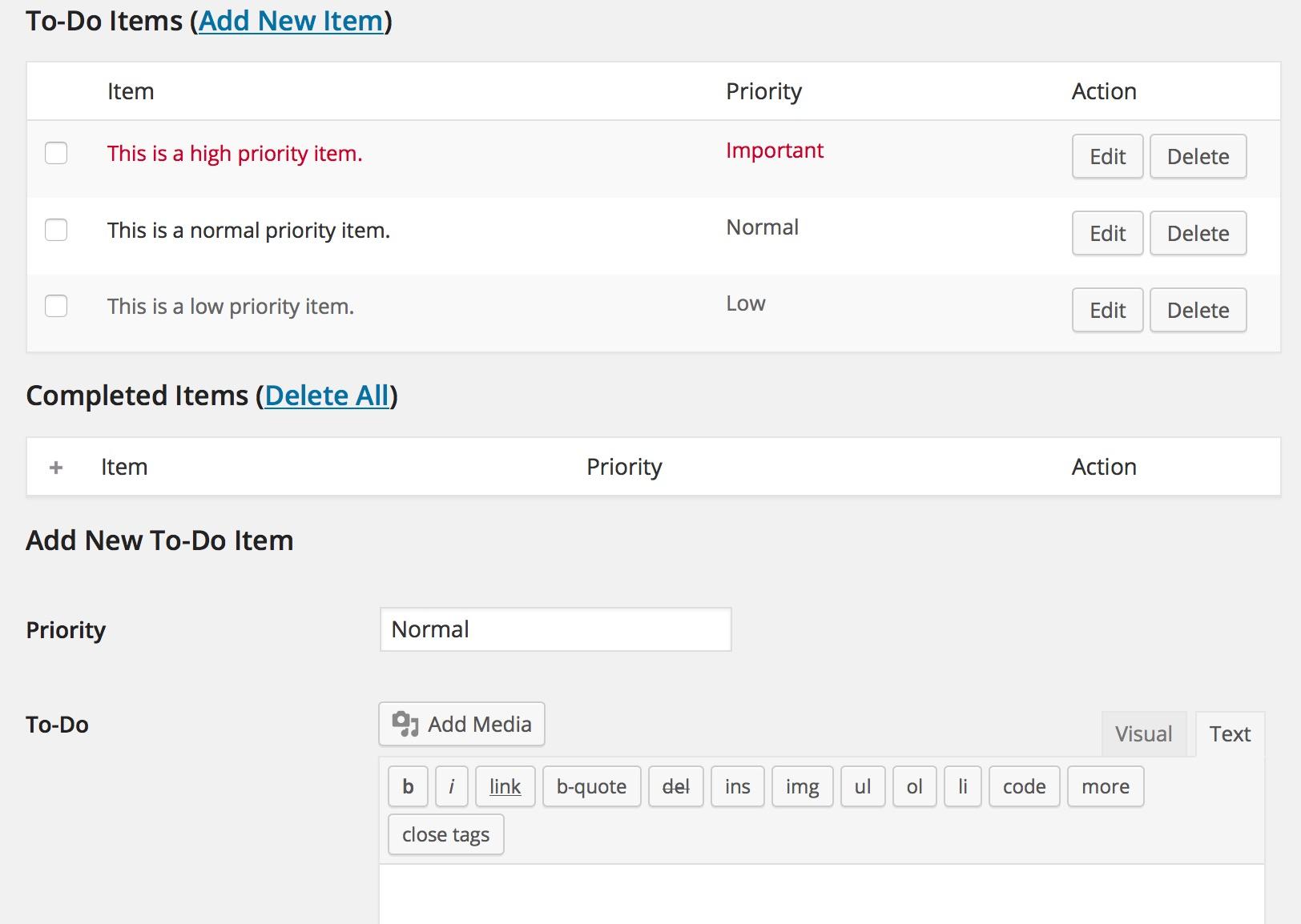 Screenshot Cleverness To-Do list plugin.