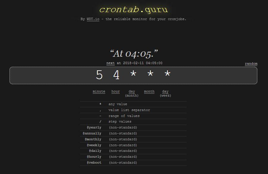 Screenshot van crontab.guru.