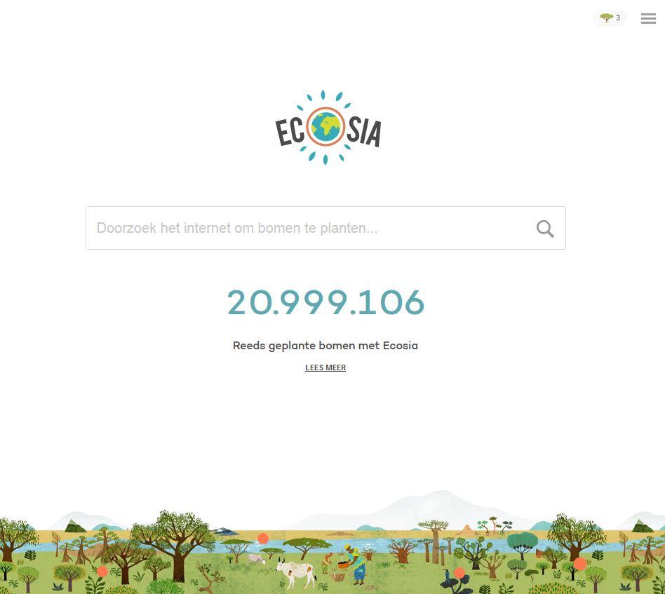 Screenshot van Ecosia zoekmachine.