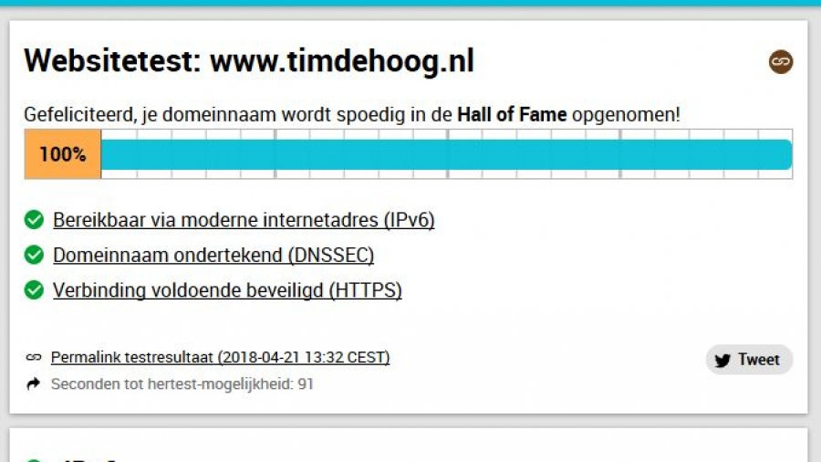Timdehoog.nl scoort 100% in de Internet.nl betrouwbare standaard test.
