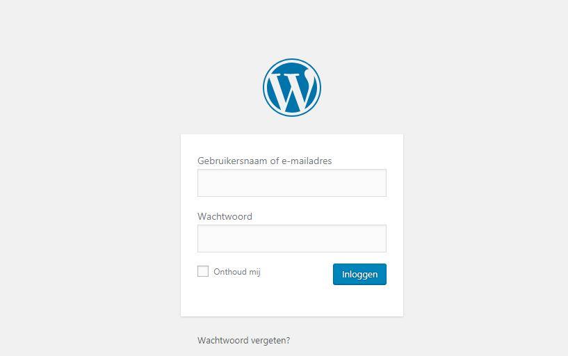 Standaard WordPress inlogpagina.