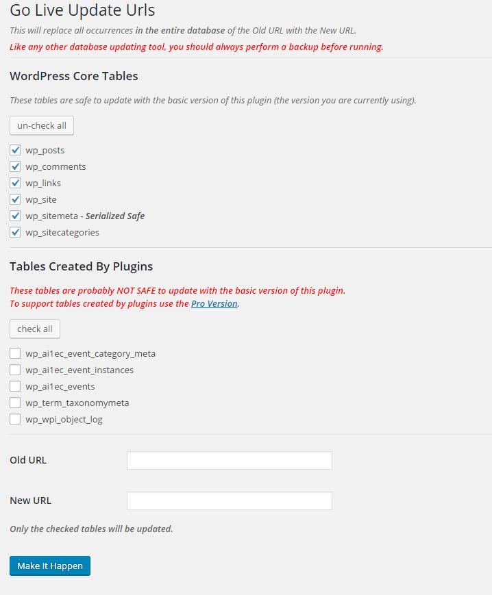 Go live update URLS WordPress plugin.