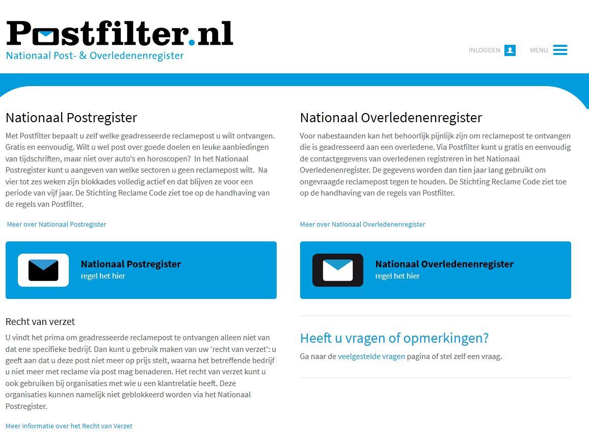 Screenshot van Postfilter.nl.