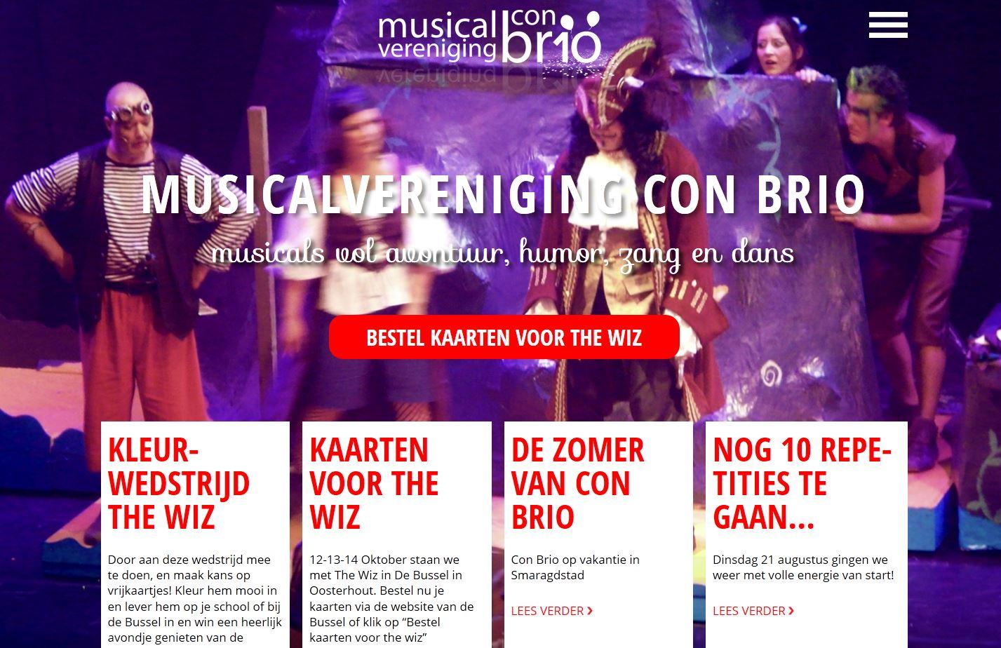 Voorpagina nieuwe website Musicalvereniging Con Brio.