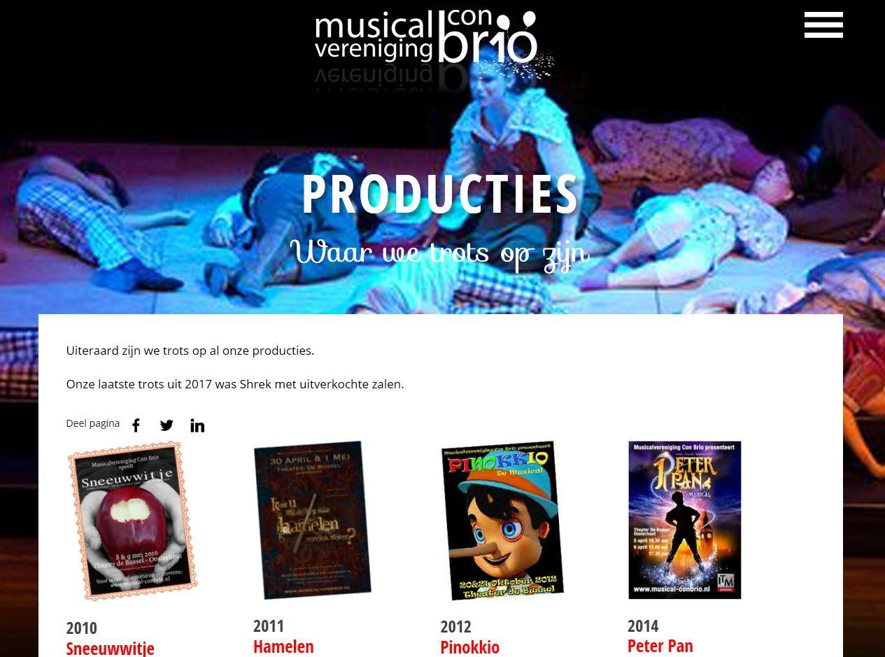 Productiepagina nieuwe website Musicalvereniging Con Brio.