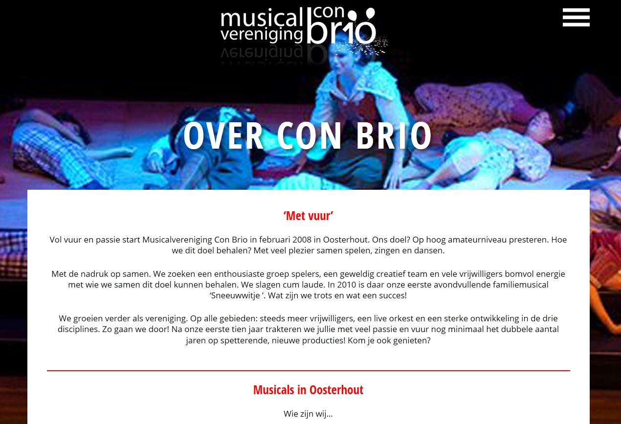 Ovr ons pagina nieuwe website Musicalvereniging Con Brio.