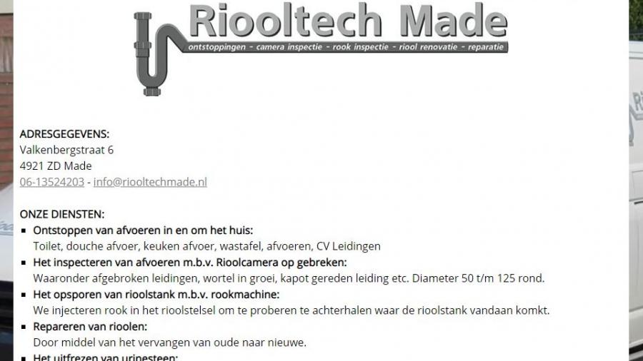 Riooltechmade.nl landingpage.