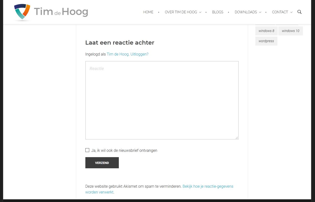Sidebar lijn in WordPress Phlox thema loopt tot het einde.