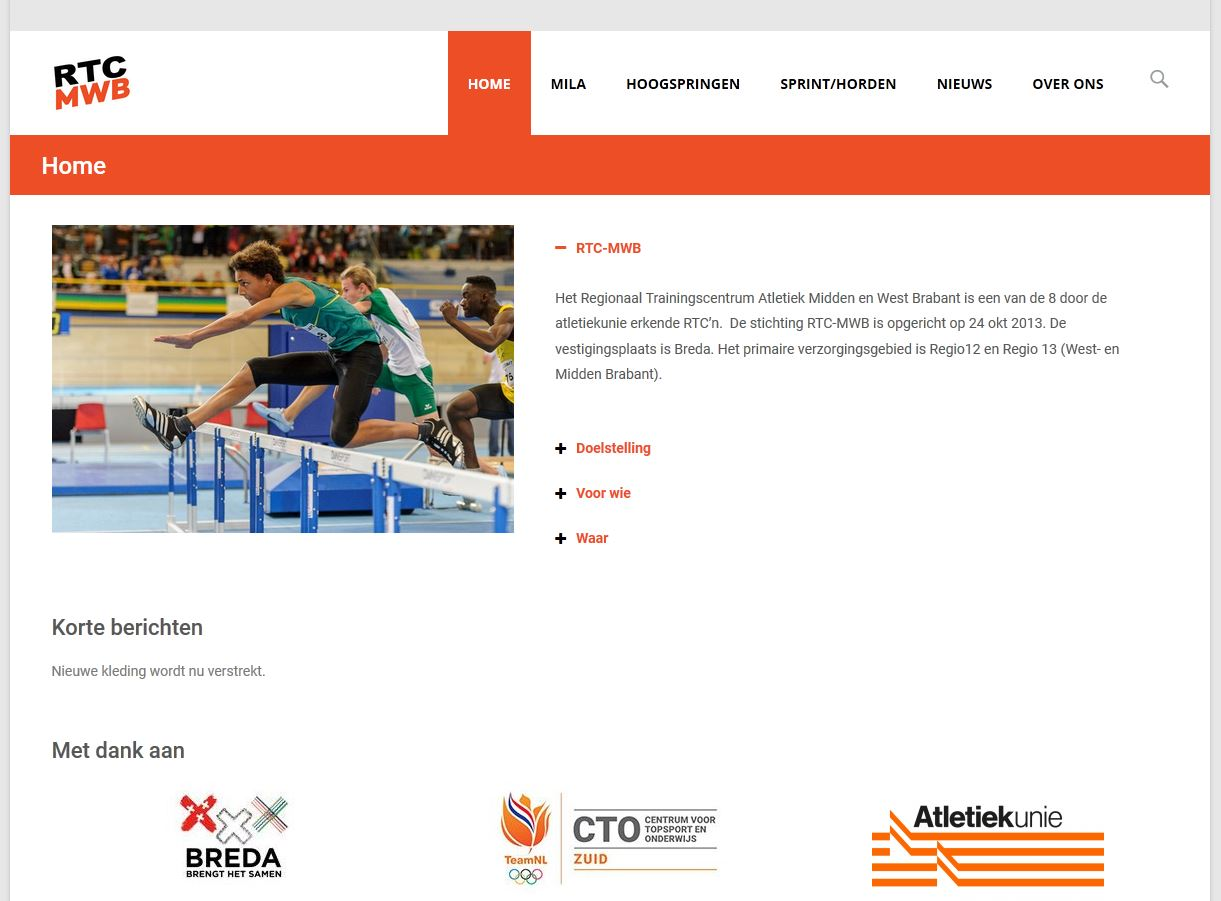 Nieuwe homepage van rtc-mwb.com