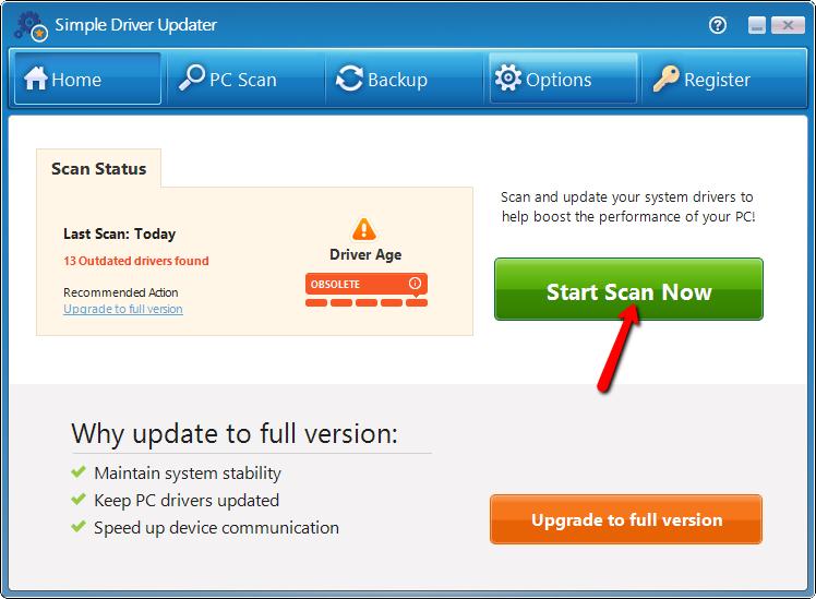 Screenshot van Simple Driver Updates.