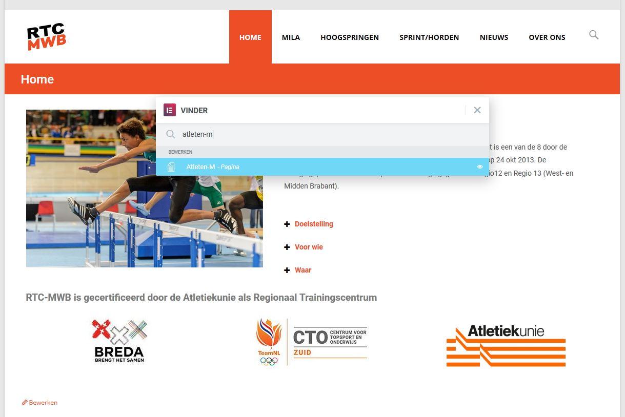 Zoeken met Elementor door alle pagina's, berichten en templates.