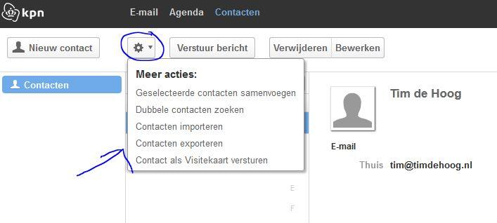 Contactpersonen exporteren uit de KPN webmail omgeving.