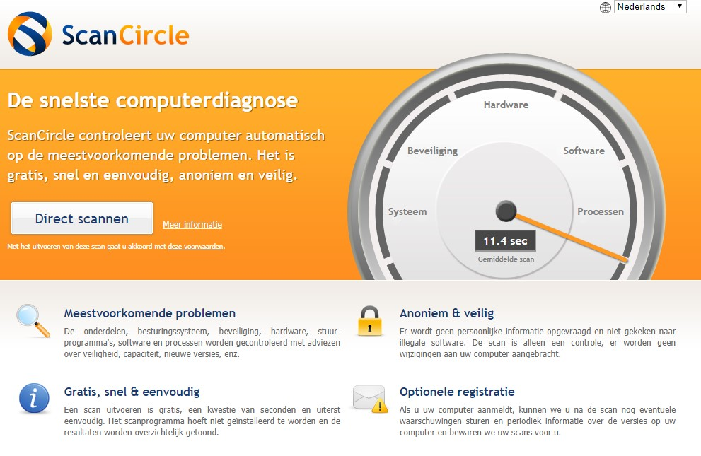 Screenshot van Scancircle.com.