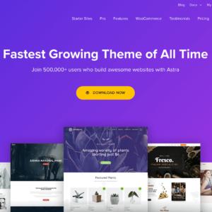 WordPress thema Astra biedt startersites aan.