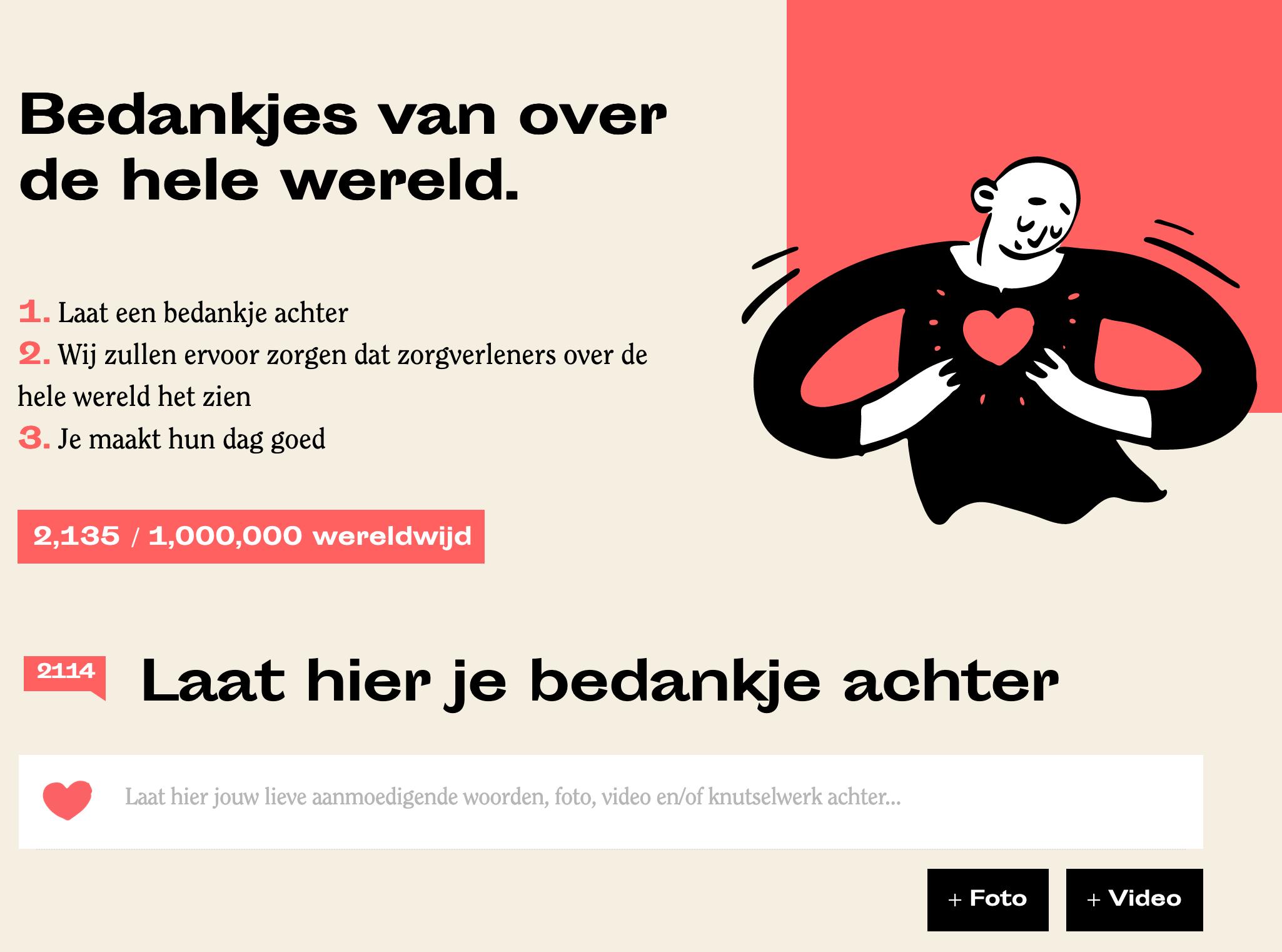 Laat een berichtje achter op Dankaandezorg.nl voor alle zorgmedewerkers.