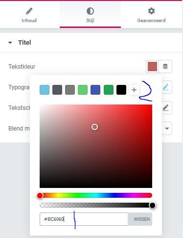 Eigen kleuren instellen in Elementor.