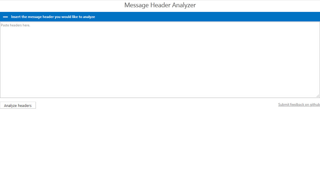 Message Header Analyzer online tool.