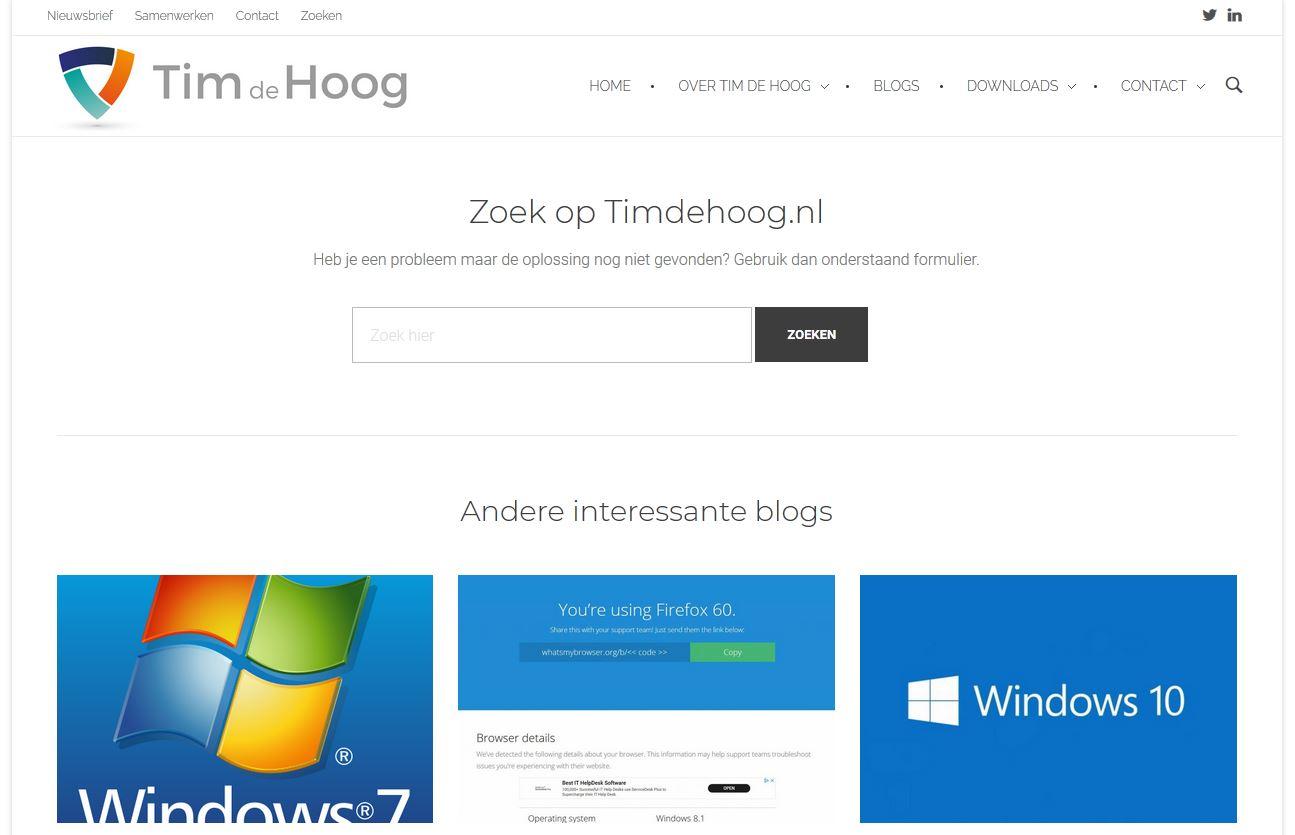 Nieuwe zoekpagina op Timdehoog.nl om snel te kunnen zoeken.