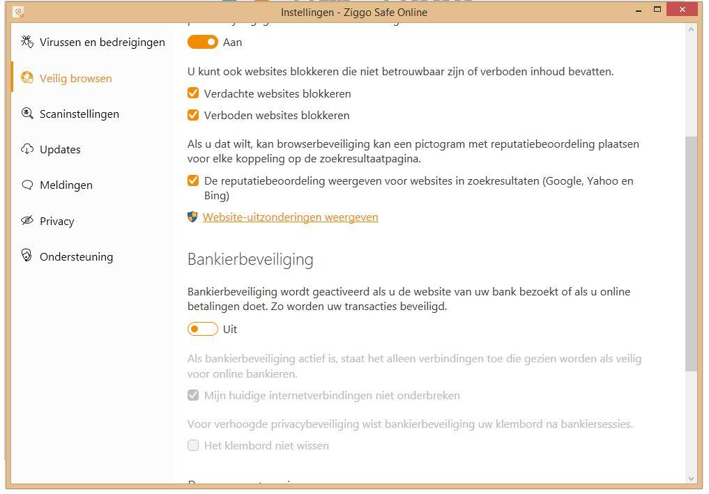 Ziggo Safe Online Bankierbeveiliging opties.