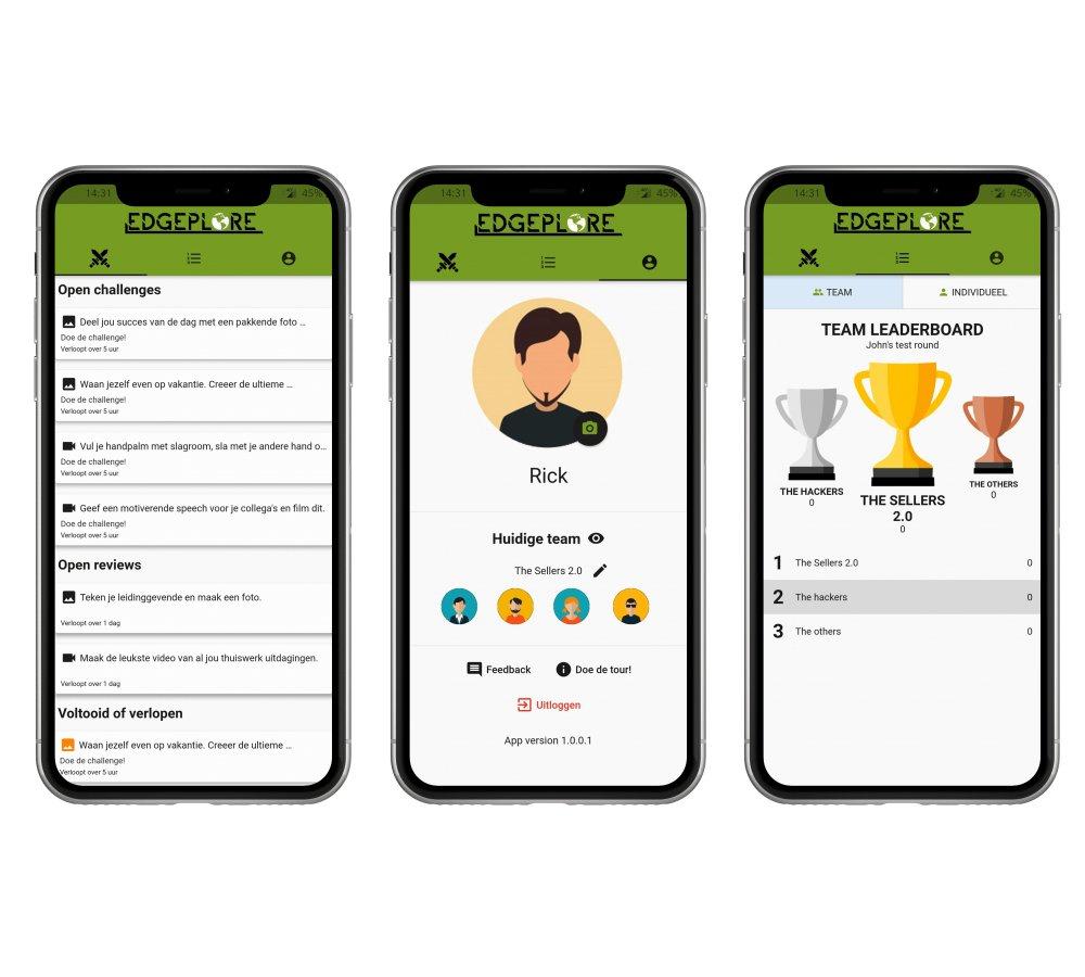Screenshot van online teambuilding app gemaakt door Edgeplore.