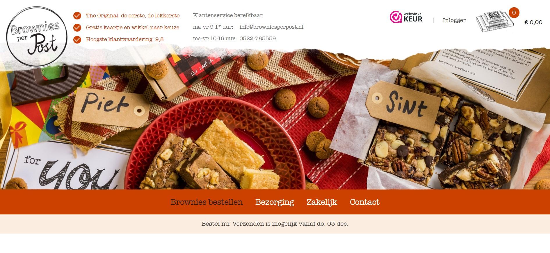 Brownies per post bestellen voor bezorging via de brievenbus.