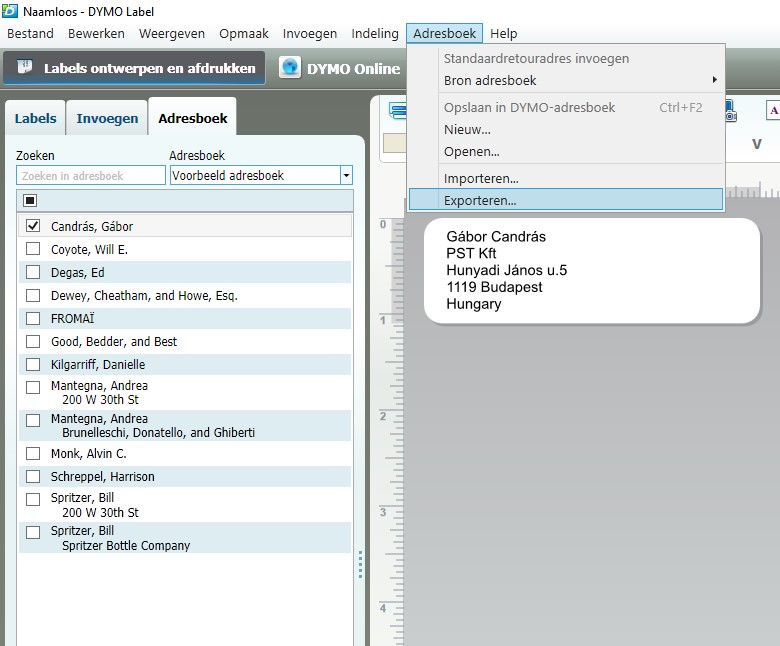Dymo Label adresboek exporteren.