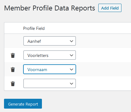 BuddyPress data exporteren met LH Buddypress export xprofile data plugin.