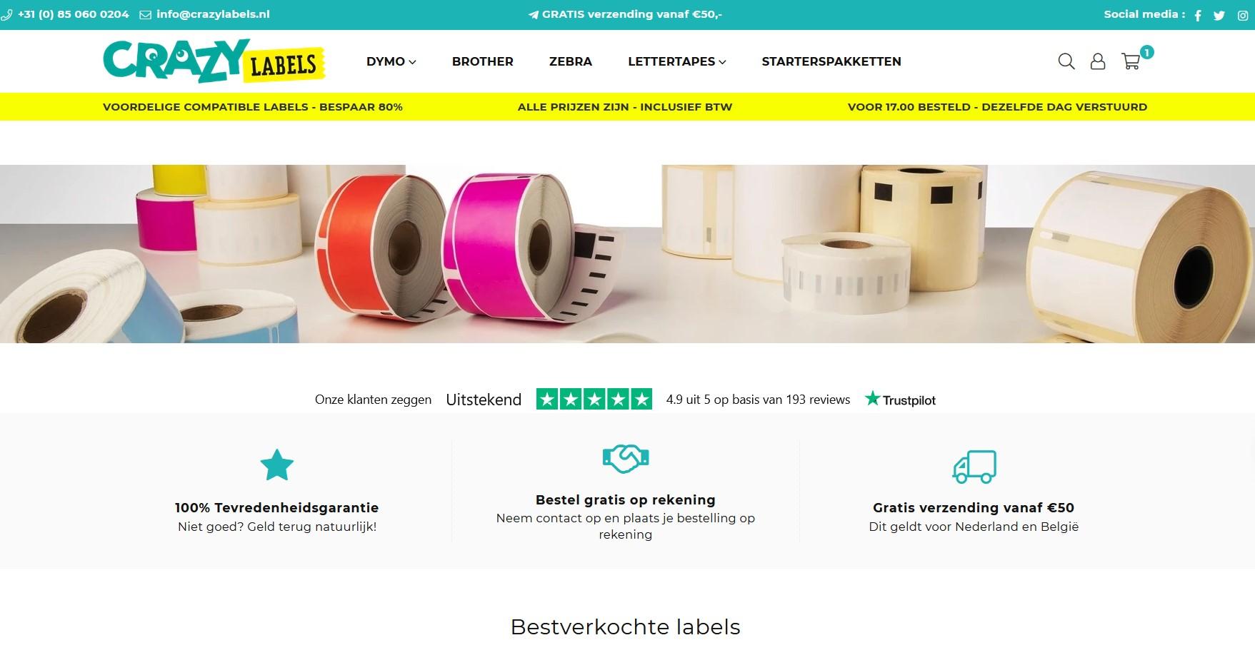 Screenshot van Crazylabels.nl waar je goedkoop Dymo labels kan bestellen.