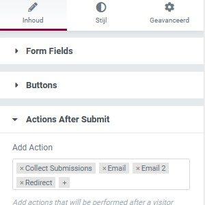 Elementor Pro Form Widget de ingevulde formulieren laten bewaren.